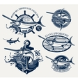Vintage swordfish sea fishing emblems vector image vector image