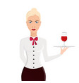 waitress portrait isolated on white background vector image vector image