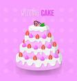 wedding cake strawberry design vector image vector image