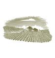 Woodcut Vineyard Landscape vector image vector image