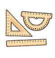 wooden set of ruler school equipment vector image