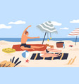 yoga couple at seashore active people do fitness vector image vector image