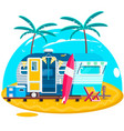 tropical sunset travel trailer caravans surfing vector image