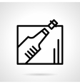 Champagne bottle black line icon vector image