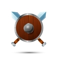 Round wooden shield with crossed swords vector image