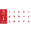 15 dangerous icons vector image vector image