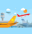 airport control tower and flying airplane vector image