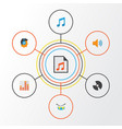 audio flat icons set collection of tone male dj vector image vector image