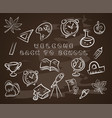 back to school on chalk blackboardwith hat vector image vector image