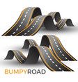 bumpy road icon uneven dangerous wave path with vector image