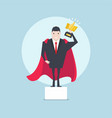 businessman holding a golden thumbs up trophy vector image vector image