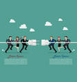 businessmen connecting hold plug and outlet in vector image vector image