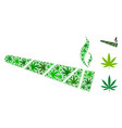 cannabis cigarette mosaic of weed leaves vector image