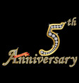 celebrating 5th anniversary golden sign vector image vector image