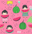 childish seamless pattern girls and watermelons vector image