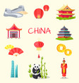 china inscription and traditional things set vector image vector image