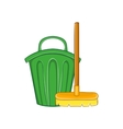Cleaning broom and trash bin icon cartoon style vector image vector image