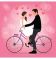 couple on bicycle fall in love pink background vector image vector image