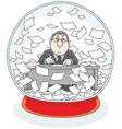 crystal ball with a clerk and papers inside vector image vector image