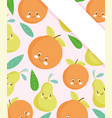 cute food pattern design fresh cute orange and vector image