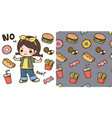 cute girl and junk food vector image vector image