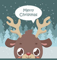 cute reindeer greeting with snowy background vector image vector image