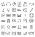 dj icons set outline style vector image vector image