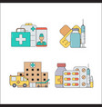 first medical aid concept medical icons set vector image