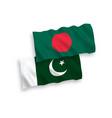 flags pakistan and bangladesh on a white