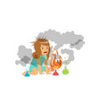 girl after a failed chemical experiment vector image vector image