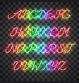 glowing multi colors neon uppercase script font vector image