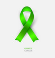 green ribbon - kidney cancer awareness vector image