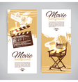 Hand drawn sketch set of cinema banners vector image