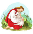 history of jesus christ parable of the lost sheep vector image vector image