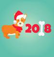 holiday greeting card with cute corgi dog vector image vector image
