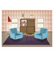 interior of living room furnished in retro style vector image vector image