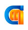 letters cm cm logo multi colour letters icon vector image