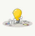 little white people installing a lamp creative vector image vector image