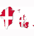 Map of Denmark with Greenland and Faroe Islands vector image