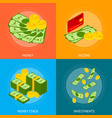 money banner card set isometric view vector image vector image