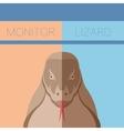 Monitor lizard flat postcard vector image vector image