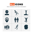 person icons set with success location winner vector image vector image
