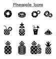 pineapple icon set vector image