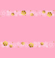 pink background with decorative stripes of flowers vector image vector image