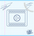 play video line sketch icon isolated on white vector image