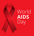 red ribbon aids day concept background cartoon vector image