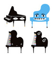 set with cartoon style piano character collection vector image