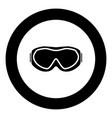 ski goggles icon black color in circle vector image
