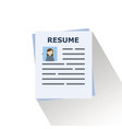 the concept of the document resume vector image