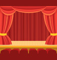 Theater scene with a red curtain